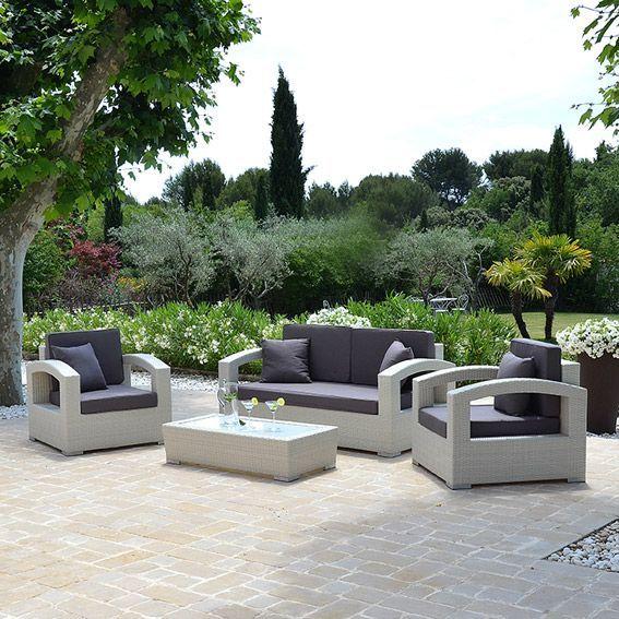 salon de jardin panama blanc 5 places eminza. Black Bedroom Furniture Sets. Home Design Ideas