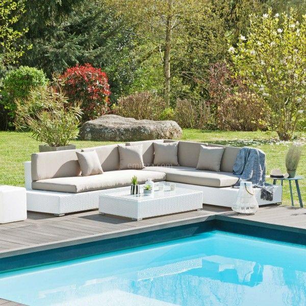 salon de jardin maldives blanc taupe 5 places salon de jardin table et chaise eminza. Black Bedroom Furniture Sets. Home Design Ideas