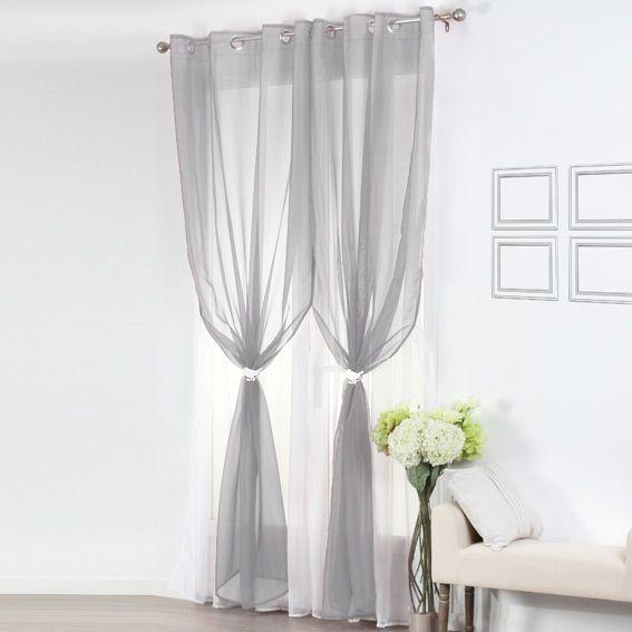 voilage oeillets double bicolore gris et blanc eminza. Black Bedroom Furniture Sets. Home Design Ideas