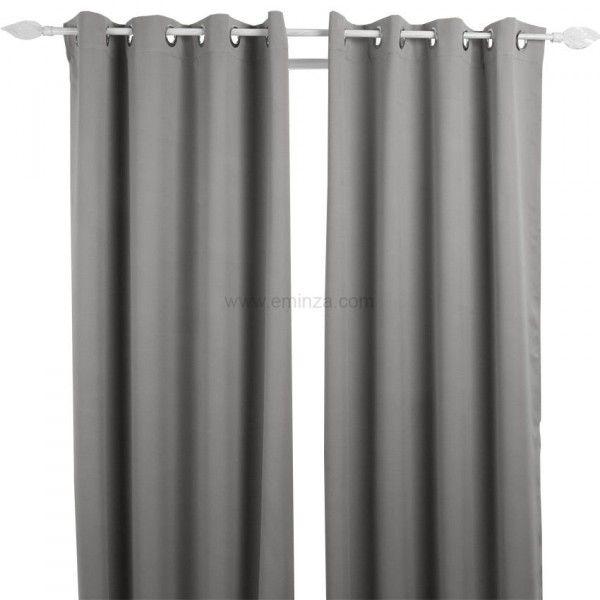 paire de rideaux occultants 135 x h240 cm uni gris rideau voilage store eminza. Black Bedroom Furniture Sets. Home Design Ideas