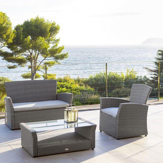 salon de jardin bora bora gris 4 places salon de jardin table et chaise eminza. Black Bedroom Furniture Sets. Home Design Ideas
