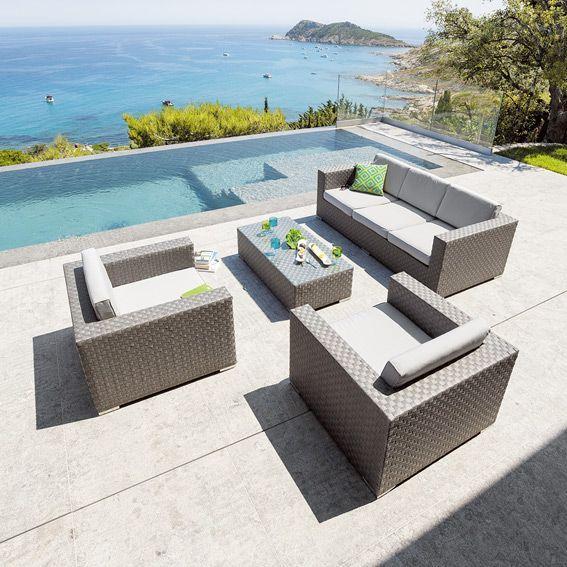 salon de jardin capiata gris 5 places salon de jardin eminza. Black Bedroom Furniture Sets. Home Design Ideas