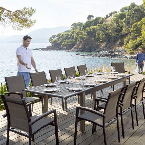 salon de jardin extensible azua composite taupe an 6. Black Bedroom Furniture Sets. Home Design Ideas