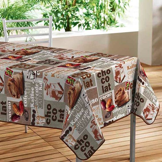 Nappe rectangulaire cafe l140 cm toile cir e eminza - Nappe toile ciree rectangulaire ...