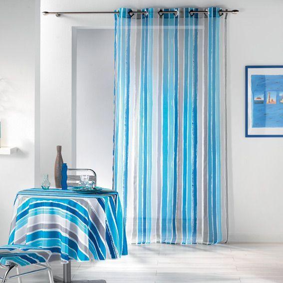 voilage oeillets pacifique bleu eminza. Black Bedroom Furniture Sets. Home Design Ideas