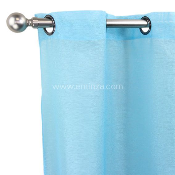 Voilage 300 x h240 cm lido turquoise voilage eminza - Rideau voilage bleu turquoise ...