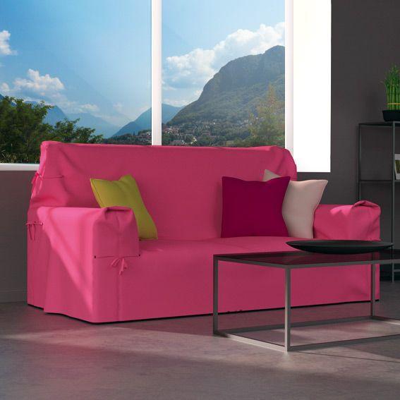 Housse de canap 2 places contemporaine rose bonbon housse de canap et clic clac eminza for Housse canape rose