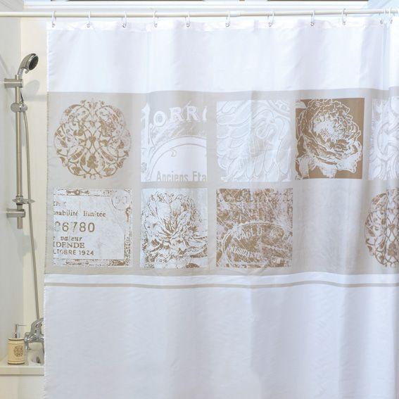 rideau de douche romance blanc eminza. Black Bedroom Furniture Sets. Home Design Ideas
