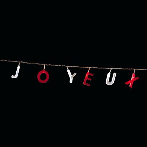 Guirlande lumineuse joyeux no l bicolore blanc et rouge d coration lumineuse eminza - Guirlande joyeux noel ...