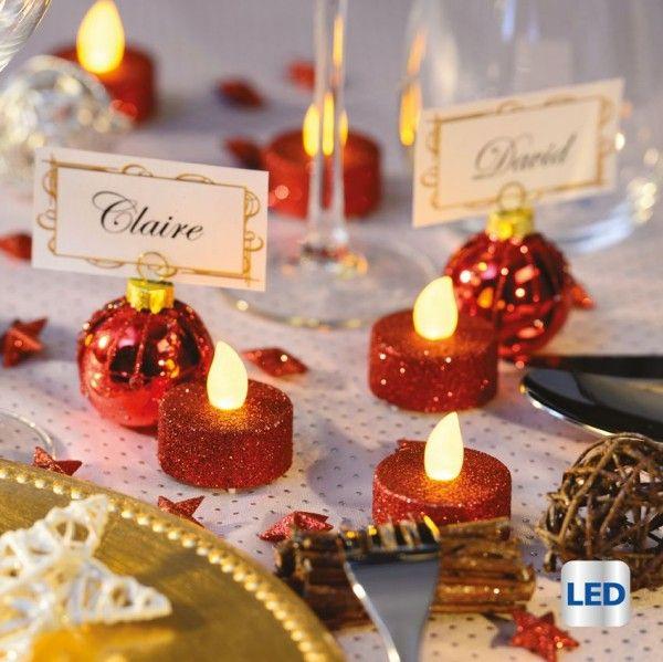 lot de 6 bougies chauffe plat led golia rouge d coration. Black Bedroom Furniture Sets. Home Design Ideas