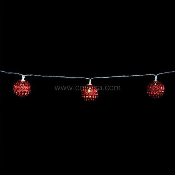 Guirlande lumineuse Boule M�tal Jill Red Blanc chaud