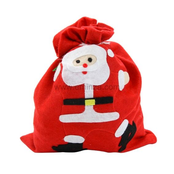 sac cadeau en tissu p re no l lucien rouge emballages cadeaux eminza. Black Bedroom Furniture Sets. Home Design Ideas