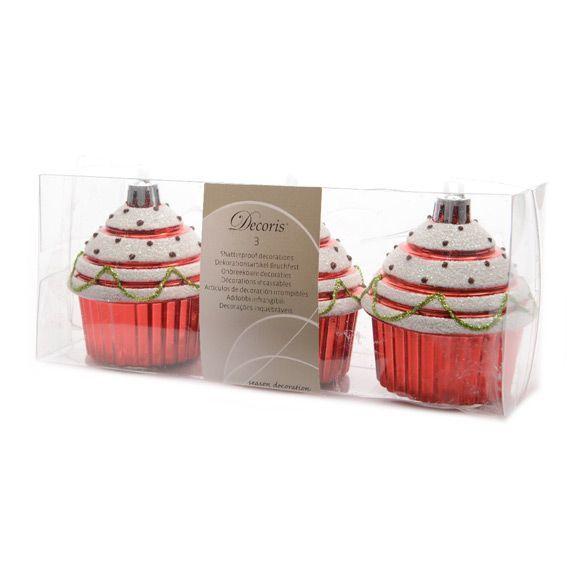 Lot de 3 cupcakes de No�l Rouge