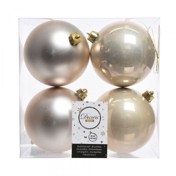 Lot de 4 boules de Noël (D100 mm) Alpine Perle