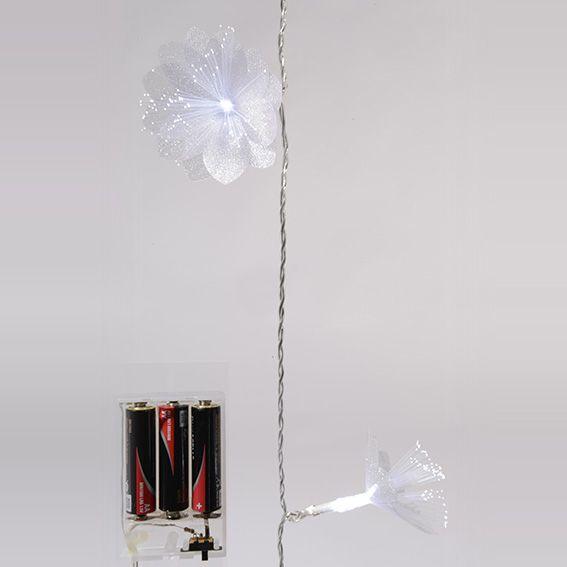 Guirlande lumineuse fibre optique Marguerite (L1,8m) Blanc froid