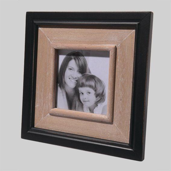 cadre photo en bois carr tom noir cadre photo et tableaux eminza. Black Bedroom Furniture Sets. Home Design Ideas