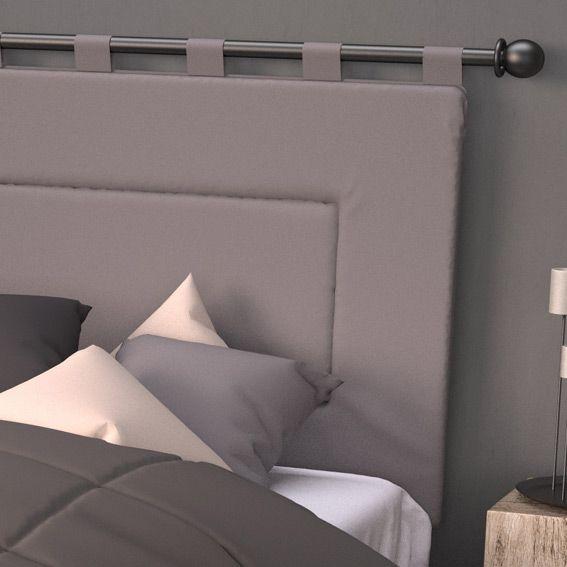 t te de lit 160 cm contemporaine gris t te de lit eminza. Black Bedroom Furniture Sets. Home Design Ideas