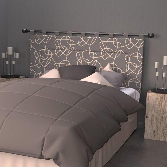 t te de lit 160 cm graphique gris t te de lit eminza. Black Bedroom Furniture Sets. Home Design Ideas