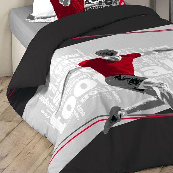 Housse de couette et une taie 140 cm football linge de - Housse de couette lit une place ...