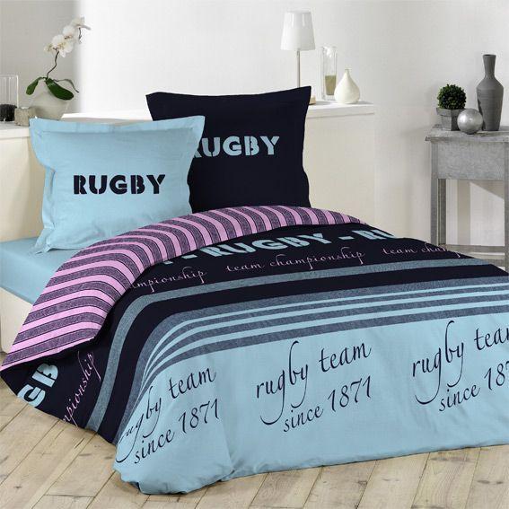housse de couette et deux taies 240 cm rugby housse de. Black Bedroom Furniture Sets. Home Design Ideas