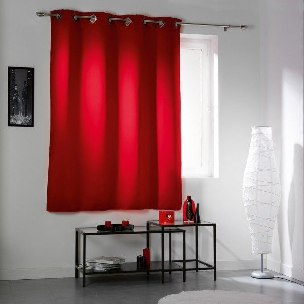Rideau occultant 140 x h180 cm cocoon rouge rideau voilage store eminza for Rideau rouge