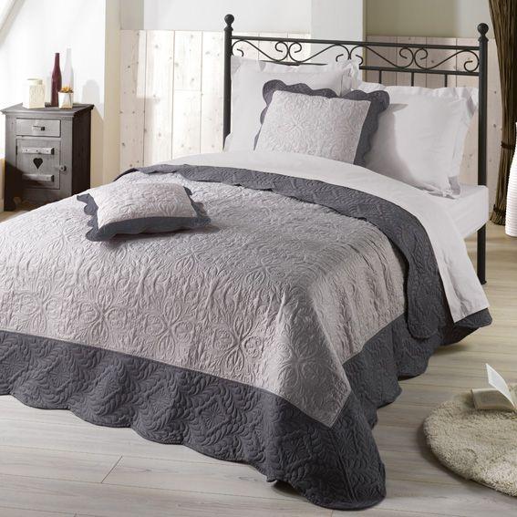 couvre lit 220 x 240 cm matelass emma anthracite eminza. Black Bedroom Furniture Sets. Home Design Ideas