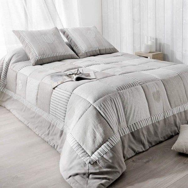 boutis et taies d 39 oreiller 250 x 260 cm ardoise couvre lit boutis eminza. Black Bedroom Furniture Sets. Home Design Ideas
