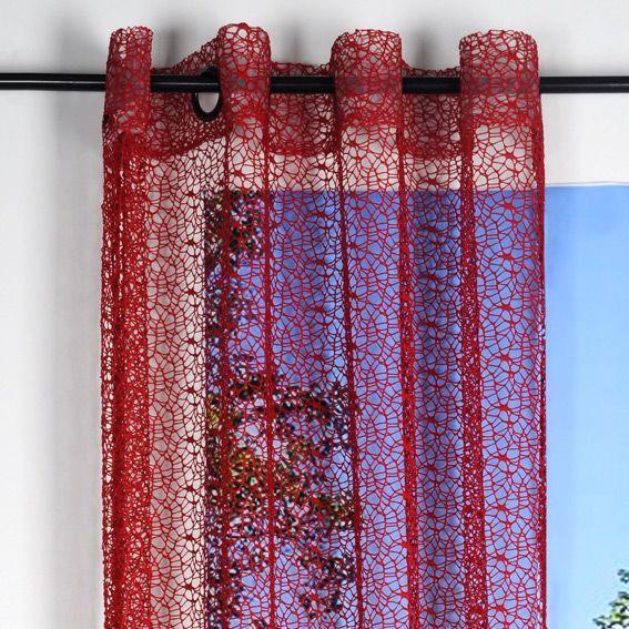rideau et voilage rouge eminza. Black Bedroom Furniture Sets. Home Design Ideas