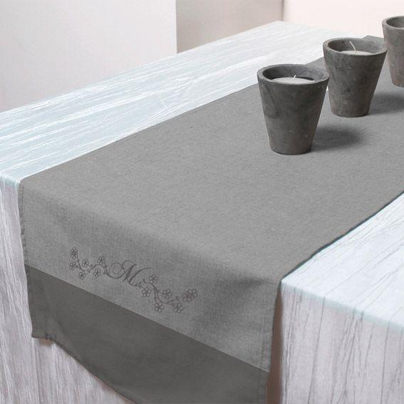 Chemin de table m lanie gris eminza for Chemin de table gris anthracite