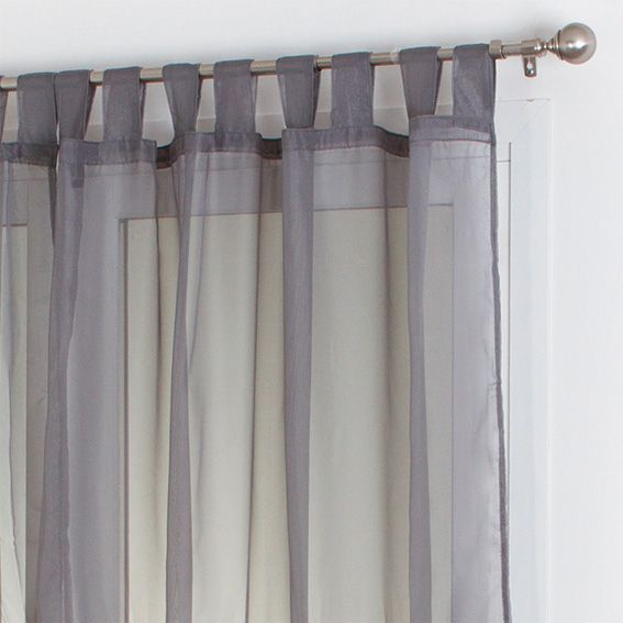 Lot de 2 voilages (140 x H240 cm) Uni Gris