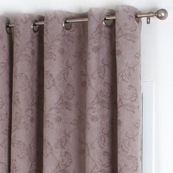 rideau 140 x h260 cm arabesque floqu taupe rideau. Black Bedroom Furniture Sets. Home Design Ideas