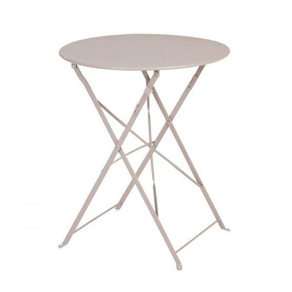Table de jardin ronde pliante m tal camargue d60 cm taupe table de jardin eminza - Table jardin metal pliante ...