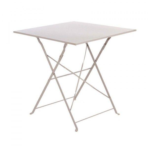table de jardin pliante m tal camargue 70 x 70 cm taupe table de jardin eminza. Black Bedroom Furniture Sets. Home Design Ideas