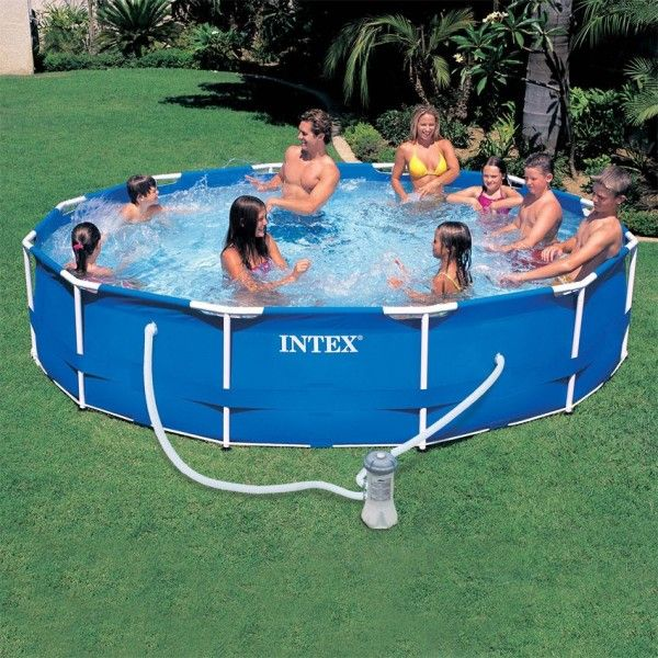 piscine tubulaire ronde metal frame 3 66 x h 0 76 m intex piscine et accessoires eminza. Black Bedroom Furniture Sets. Home Design Ideas