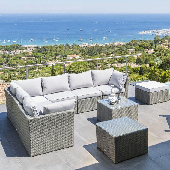 salon de jardin s villa gris gris clair 5 places salon de jardin eminza. Black Bedroom Furniture Sets. Home Design Ideas
