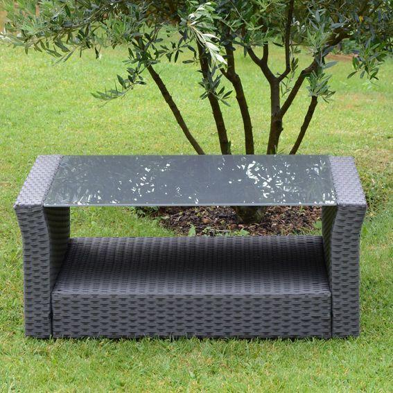 Table basse de jardin ibiza gris anthracite salon de jardin eminza - Table basse gris anthracite ...