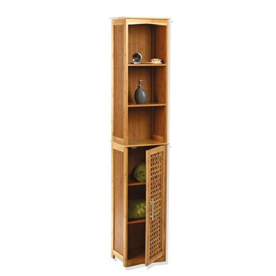 Meuble colonne salle de bain bambou eminza for Meuble salle de bain bois bambou