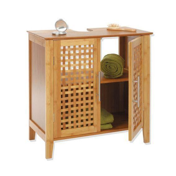 Meuble dessous lavabo bambou eminza for Meuble lavabo bambou