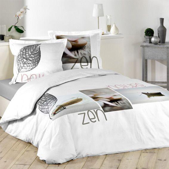 housse de couette et deux taies 240 cm message zen. Black Bedroom Furniture Sets. Home Design Ideas