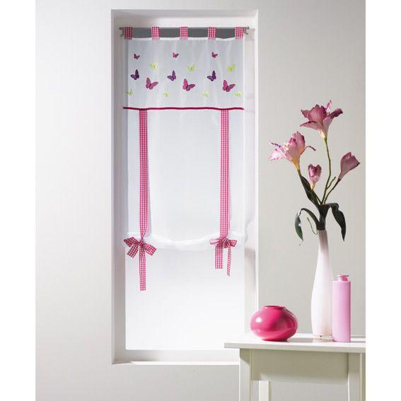 Store voilage droit 60 cm joly rose rideau voilage store eminza - Voilage pour chambre ...