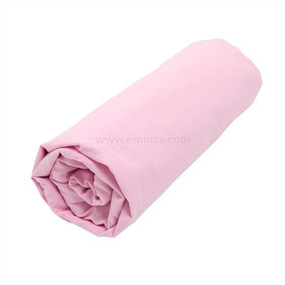 drap housse coton 90 cm uni rose drag e linge de lit eminza. Black Bedroom Furniture Sets. Home Design Ideas