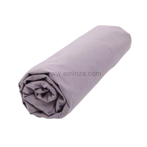 drap housse coton 160 cm uni lilas linge de lit eminza. Black Bedroom Furniture Sets. Home Design Ideas