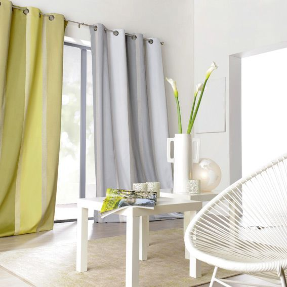 rideau tamisant 145 x 260 cm orsey blanc et gris rideau tamisant eminza. Black Bedroom Furniture Sets. Home Design Ideas