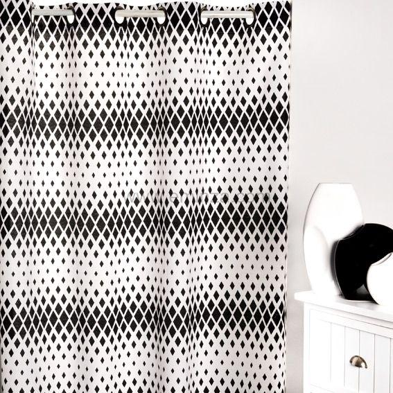 rideau oeillets sparks blanc et noir eminza. Black Bedroom Furniture Sets. Home Design Ideas