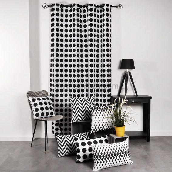 coussin dozer noir et blanc d co textile eminza. Black Bedroom Furniture Sets. Home Design Ideas