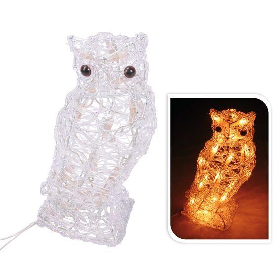 Hibou des neiges lumineux 20 LED Blanc chaud