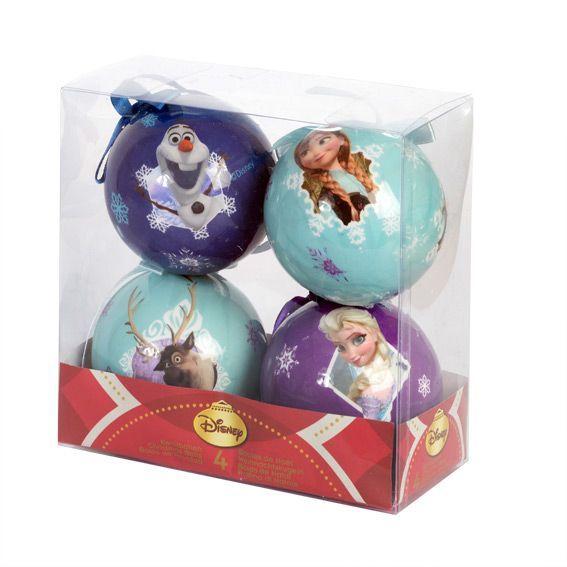 Lot de 4 boules de Noël Disney Reine des neiges