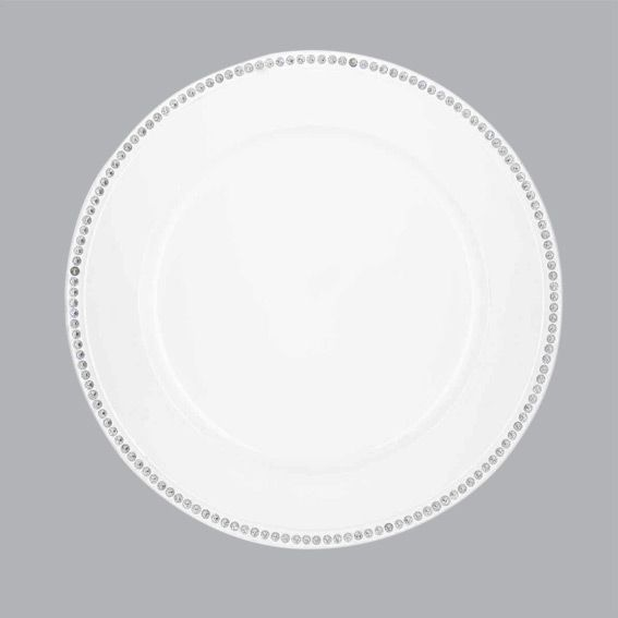 lot de 12 dessous d 39 assiette strass blanc d co de table eminza. Black Bedroom Furniture Sets. Home Design Ideas