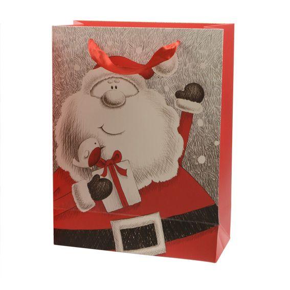 sac cadeau h24 cm papa no l joyeux rouge loisirs. Black Bedroom Furniture Sets. Home Design Ideas