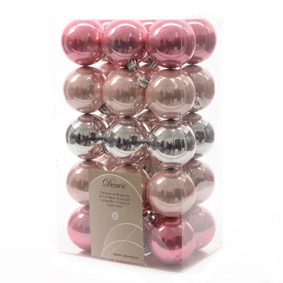 Lot de 30 boules de No�l (D60 mm) Alpine mix Rose poudr�